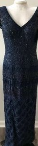 Sue wong navy size 10 beaded gown dress navy blue